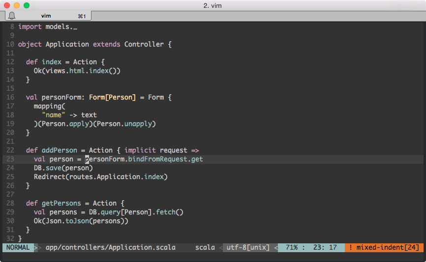 Scala syntax highlighting in Vim